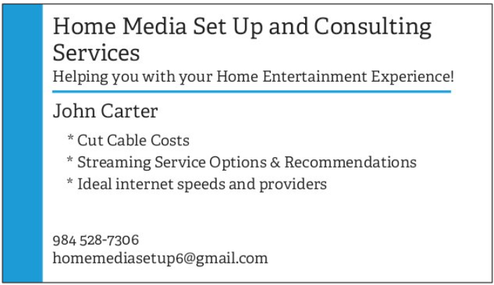 Home Media Set Up and Consulting Services